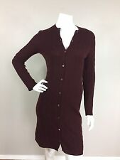RALPH LAUREN BLACK LABEL Sz S Maroon 100% Cashmere Long Cable Cardigan Sweater