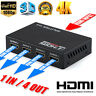 Full HD HDMI Splitter Amplifier Repeater 3D 1080P 1 IN 4 Port OUT Switch Hub