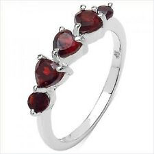 Real Red Garnet Ring, 3 Red Hearts & 2 Round, White Gold/Real Sterling Silver