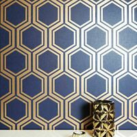 Geometric hexagon wallpaper navy blue gold metallic Textured wall coverings 3D
