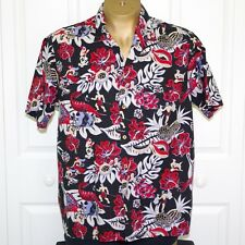 Vintage Barefoot in Paradise Mens XL Cotton Aloha Shirt Spearfishing Hula
