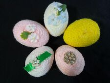 "Decorative Egg Figurine Set of 5 Yarn and Plastic Pink White Yellow 2.5"" Easter"