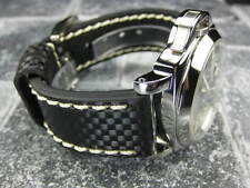 New CARBON Fiber 22mm LEATHER STRAP Band Black with Beige Stitch PANERAI 22 mm