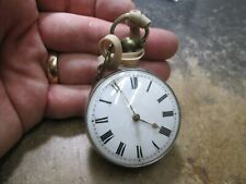 Case Pocket Watch Running With Key New listing Early Key Wind Fusse Silver