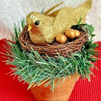 Glittered Gold Bird Nest on Terracotta Look Pot Vintage Christmas Decor