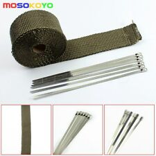 "2"" 50m Motorcycle Exhaust Pipe Header Heat Wrap Tape + 6 Ties Kit Titanium New"