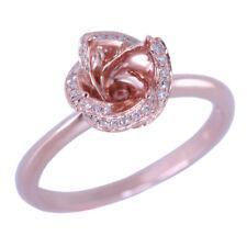 10K Rose Gold Natural SI/H Diamond Wedding Ring Semi Mount Fine Ring 6-7mm Round
