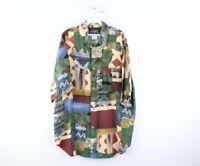 Vtg 90s Streetwear Mens XL Abstract Geometric All Over Print Button Shirt USA