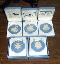 Lot Of 5 Wedgwood Jasperware Annual Christmas Ornaments Free U S Shipping