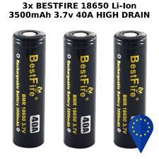 3x BATTERY BESTFIRE 18650 FLAT TOP 3500mAh 3.7v 40A HIGH DRAIN BATTERIA LITHIUM