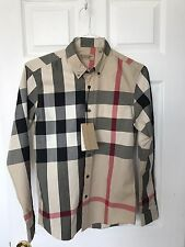 Burberry London Camel Check Men's Casual Shirt Slim Fit  Size Small runs Size XS