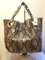 Steve Madden Embossed Snake Leather Womens Extra Large Bucket Tote Bag