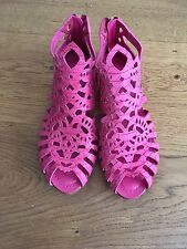 Christian Dior Pink snake skin leather Alhambra peep toe cage sandals Sz 35 US 5