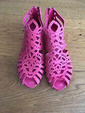 Christian Dior Pink snake skin leather Alhambra peep toe cage sandals Sz 35 US 5