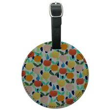 Colorful Citrus Tropical Fruits Pattern Round Leather Luggage Card ID Tag