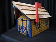 Amish Handmade Handcrafted Rural Mailbox w Flag USPS Wood Roof Log Cabin Dk Blue
