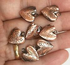 10  Antique Copper Heart Locket Pendant 13x15mm, puff heart locket with flower