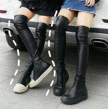 Women Punk Goth Thigh-high Boots Over the Knee Slim Leg Sneaker Creeper Boots