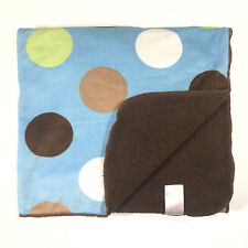 Carters Baby Blanket Blue Plush Brown Sherpa Green Brown White Tan Polka Dots