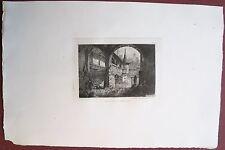 Eau-forte originale, Pont couvert à Lucerne, Henri de Gourcy