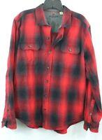 WOOLRICH men's XL Button Red BUFFALO PLAID Long sleeve Ultimate Camp Fire Shirt