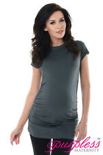 Purpless Maternity 100 Cotton Pregnancy Tee Top Tshirt 5025 Army Gray UK 18