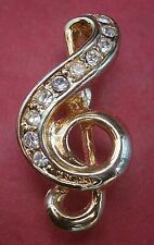 treble Clef diamante badge brooch pin Ar336*) Gold tone metal small music