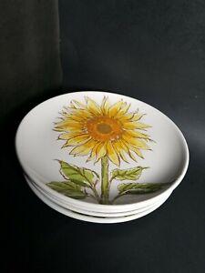 4 Sunflower Appetizer Plates Room Creative Signature Yellow Flower Spring Summer