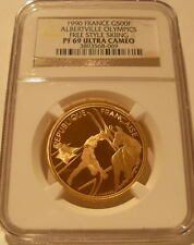 France 1990 Gold 500 Francs NGC PF-69UC Albertville Olympics - Free Style Skiing