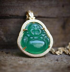 14K Gold Plated Green Jade Buddha Pendant Necklace With Lab Simulated Diamonds