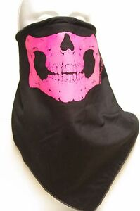 Windproof fleece Pink Skull Jaw lined bandana motorcycle skiing face mask