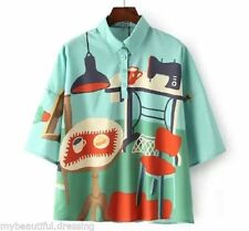 Polyester Short Sleeve Button Down Shirt Unbranded Tops & Blouses for Women