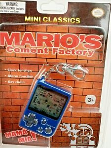 Marios Cement Factory Blue Keychain Game Clock Nintendo Mini Classics Travel