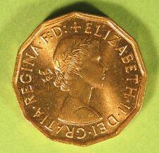 1966 Elisabetta II in Ottone da tre soldi monete UNC MENTA FRESCA DI TUBO