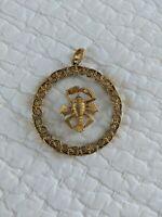 Vintage Monet Lobster Clear Lucite Gold tone Pendant, no chain
