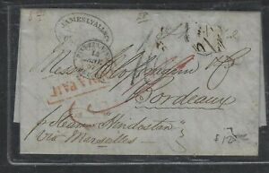 INDIA  COVER (PP1404B) 1857  INDIA PAID COVER CALCUTTA TO FRANCE ALAS STAMP OFF