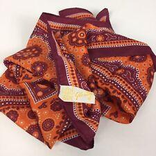 GLENTEX Scarf Square 23x23 Silk Blend Orange Floral Graphic