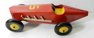 1940's YELLOW RED TIN WIND UP No 5 TOY BOAT TAIL RACER RACE CAR