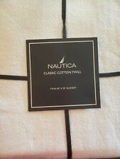 New Nautica White Classic Cotton Twin Cotton Bed Blanket