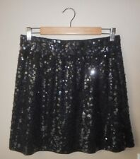 Garnet Hill Black Sequin Skirt M Above Knee A-Line