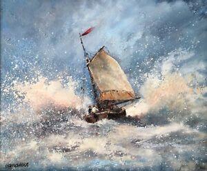 "ALLEN: ""North Eastery"" Stunning Nautical Original Oil Signed Framed"