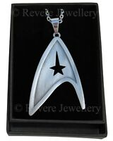 Star Trek Brooch Badge Necklace Brushed Steel Communicator Starfleet Command