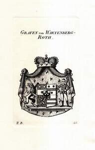 c1820 von Wartenberg-Roth Erbach Adelswappen Adel Heraldik Kupferstich-Wappen