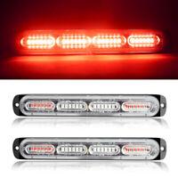 2Pc Red/Red 24 LED Car Truck Emergency Warning Hazard Flash Strobe Light Bar 12V