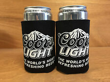 Coors Light - Black Beer Koozie Can Cooler Coozie - New - 2 Pk - Free Shipping