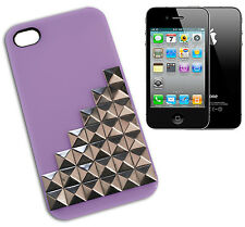 COVER CASE FLIP SUITABLE FOR IPHONE 4 STUDS SILVER PLATED PLASTIC LILAC VIOLA Y
