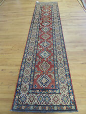 Striking Kazak Geometric 3x12 Oriental Runner Rug Red Blue Pakistani
