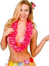 Hawaii Party Neon Pink Petal Lei Flower Hula Fancy Dress Garland Necklace 9.5cm