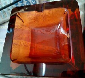 Aschenbecher  Kristallglas orange