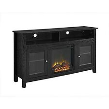 "WE Furniture 58"" Wood Highboy Style TV Stand Fireplac Console, Black New"